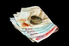 Türkische Lira - Banknoten und Münzen falteten sich stockfoto