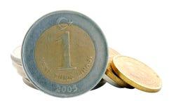 Türkische Lira - Münze 1YTL Stockbild