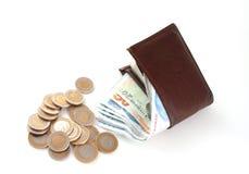 Türkische Lira und Geldbörsen stockfoto