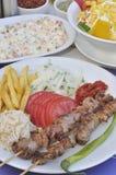 Türkische Shish Kebab Mahlzeit Lizenzfreie Stockbilder