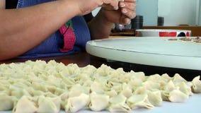 Türkische traditionelle Lebensmittel-Ravioli Gebäck genanntes Manti stock video