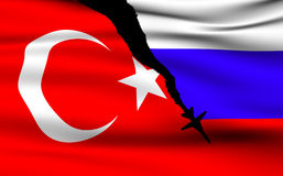 Türkische und russische Flaggen stockbild