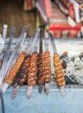 Türkischer Adana-/Urfa-Kebab, der fertig wird gegrillt zu werden lizenzfreie stockfotografie