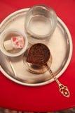 Türkischer Kaffee des Serbian/mit türkischer Freude stockbild