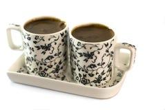 Türkischer Kaffee in zwei Cup lizenzfreies stockbild