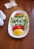 Türkischer Salat von Zwiebeln, von Tomaten und von grünen Paprikas Stockfotografie