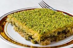 Türkischer traditioneller Nachtisch Kadayif mit Pistazien-Pulver stockbilder