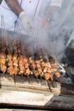 Türkisches Artfleisch shashlyk, das gegrillt wird stockfotos