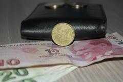 Türkisches Geld, Euro und Geldbörse lizenzfreies stockfoto