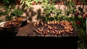 Türkisches Huhn Shish auf BBQ stock video