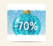 Türkisfunkeln-Weihnachtsball für Weihnachtsverkauf stock abbildung