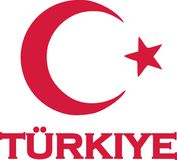 Türkiye with moon and star. Vector Royalty Free Stock Images