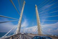 Türme der Brücke George Town auf Penang Insel und Seb anschließend Stockbild