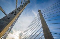 Türme der Brücke George Town auf Penang Insel und Seb anschließend Stockfoto