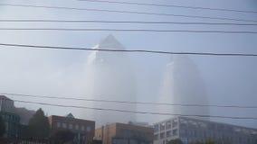 Türme im dichten Nebel stock footage