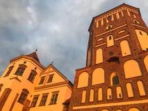 Türme und spiers eines alten alten schönen Schlosses des hohen mittelalterlichen Steins gegen einen blauen Himmel stockbild