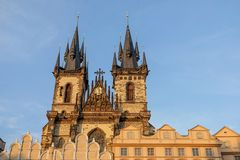 Týn church in Prague. Gothic towers of the Týn church in Prague, Czech republic Royalty Free Stock Images