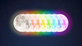 Tęcz barwioni księżyc w pełni na gwiaździstym nieba tle obraz stock