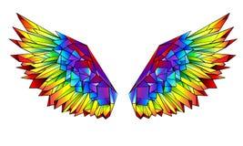 Tęcz poligonalni skrzydła na białym tle royalty ilustracja