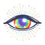 Tęcza barwiący oko Flaga LGBT społeczność wśrodku gałki ocznej Vect ilustracji