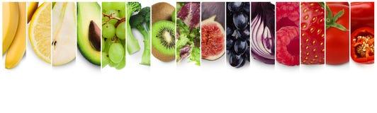 Tęcza barwi kolaż świeże organicznie owoc, jagody i warzywa, royalty ilustracja