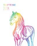Tęcza Chiński nowy rok koń 2014 odizolowywający ilustracja wektor