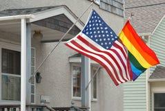 Tęcza i flaga amerykańskie. Obrazy Stock