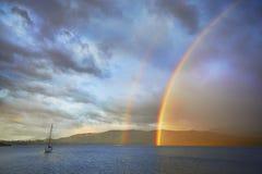 Tęcza Jeziorny Te Anau fotografia stock
