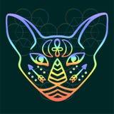 Tęcza kota twarzy wektoru Święty zwierzę antyczny Egipt, mistyczna kot twarz z Egipskimi hieroglificznymi symbolami Wręcza patros ilustracji