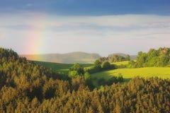 Tęcza krajobraz Zdjęcia Royalty Free
