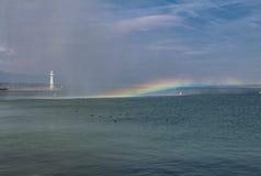 Tęcza nad Lemańskim jeziorem Obraz Stock
