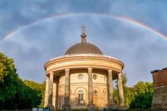 Tęcza nad Ukraińską Chrześcijańską katedrą Obraz Royalty Free
