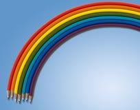 Tęcza od barwionych ołówków na błękicie prostokąt Zdjęcia Royalty Free