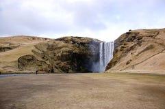 Tęcza, para, Skà ³ gafoss, siklawa w południowym Iceland Zdjęcia Royalty Free
