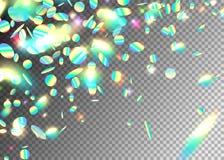Tęcza skutka holograficzny tło z błyskotliwością, neonową, światło foliowe cząsteczki Iryzuje round kształta frakcję przy ilustracja wektor