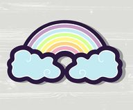 Tęcza z chmurami ilustracyjnymi ilustracji