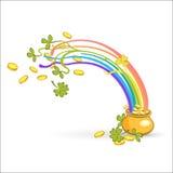 Tęcza, zielonego liścia szczęsliwa koniczyna pełno i garnek złoto, również zwrócić corel ilustracji wektora Zdjęcia Stock
