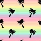 Tęczy akwareli tła bezszwowa deseniowa ilustracja z drzewkiem palmowym Obraz Stock