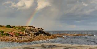 Tęczy Clovelly plaża Obraz Royalty Free