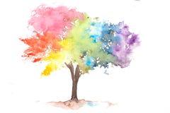 Tęczy drzewo na bielu royalty ilustracja