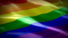 Tęczy falowania flaga Dumy 3d homoseksualisty flagi falowanie Odizolowywający Znak tęczy pętli bezszwowa animacja Homoseksualisty