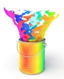 Tęczy farby chełbotanie z puszki Obraz Stock