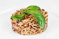 Tęsk biali i brąz zbożowi ryż gotujący z zielonymi liśćmi zdjęcie royalty free