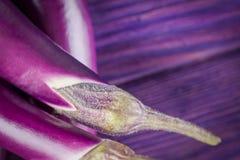 Tęsk i odchudza azjata palcową oberżynę na drewnianym purplebackground Odgórny widok, kopii przestrzeń fotografia stock