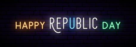Tęsk neonowy sztandar dla India republiki dnia świętowania obraz royalty free