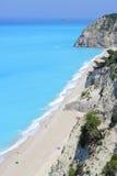 Tęsk plaża Egremni na wyspie Lefkada fotografia royalty free