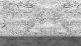 Tęsk pusty biały ściana z cegieł i przedpole zdjęcie royalty free