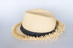 tła ścinku kapeluszu odosobnionej ścieżki słomiany biel Obrazy Stock