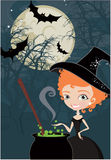 tła śliczna Halloween czarownica royalty ilustracja