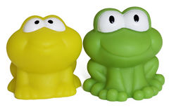 tła żaba odizolowywający gumy zabawki biel Fotografia Stock